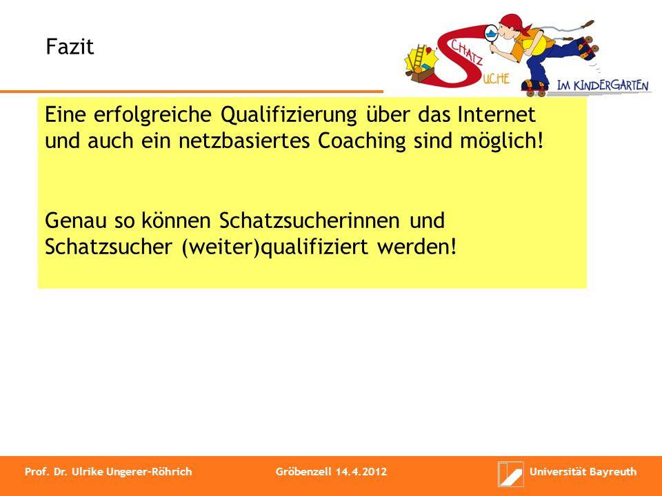 Fazit Eine erfolgreiche Qualifizierung über das Internet und auch ein netzbasiertes Coaching sind möglich!