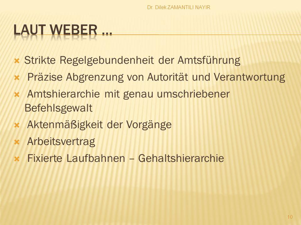 Laut Weber … Strikte Regelgebundenheit der Amtsführung