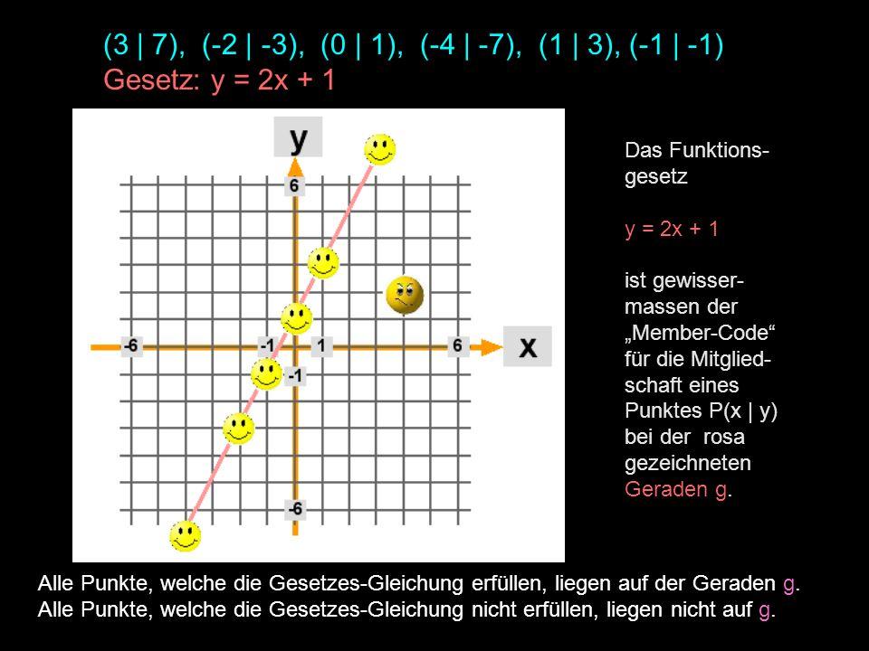 (3 | 7), (-2 | -3), (0 | 1), (-4 | -7), (1 | 3), (-1 | -1)