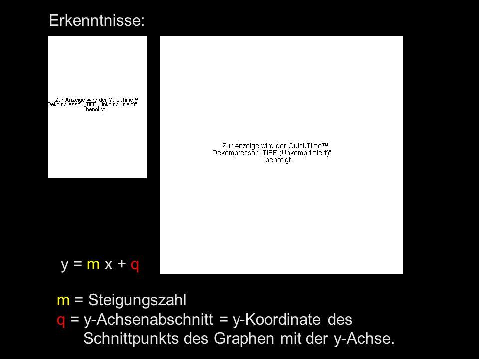 Erkenntnisse: y = m x + q. m = Steigungszahl. q = y-Achsenabschnitt = y-Koordinate des.