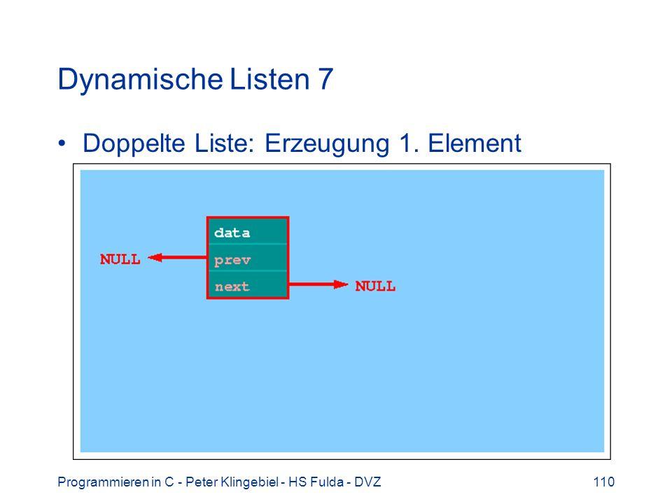 Dynamische Listen 7 Doppelte Liste: Erzeugung 1. Element