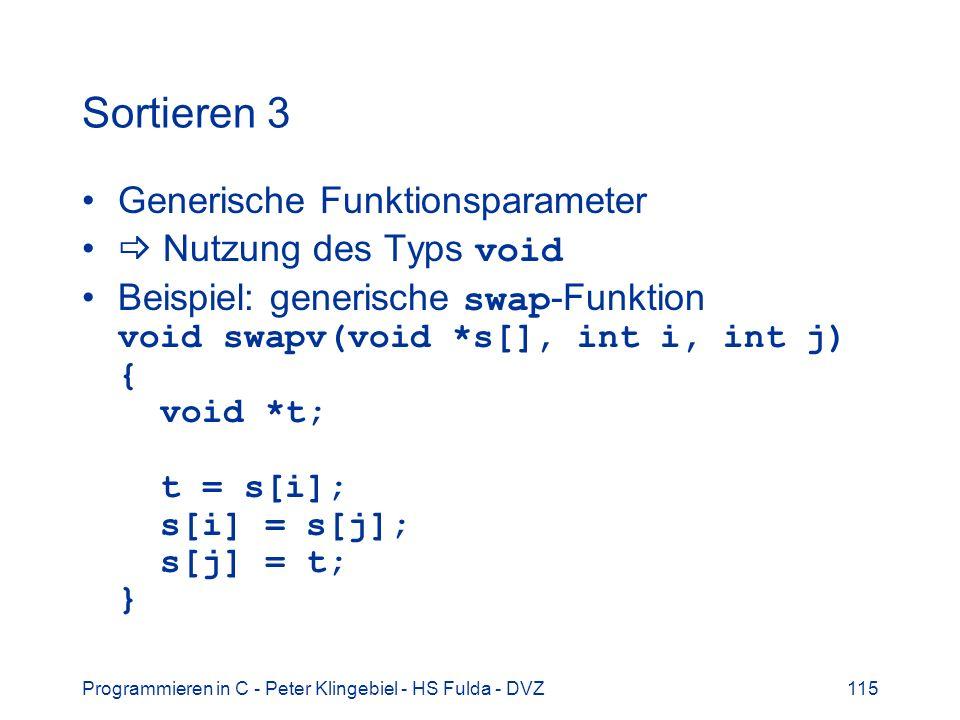 Sortieren 3 Generische Funktionsparameter  Nutzung des Typs void