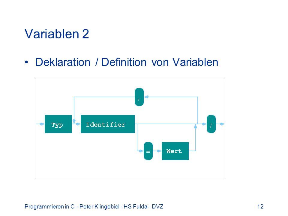 Variablen 2 Deklaration / Definition von Variablen