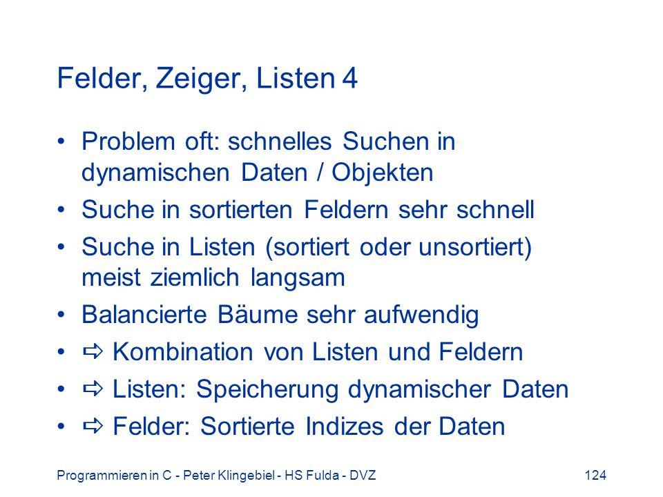 Felder, Zeiger, Listen 4 Problem oft: schnelles Suchen in dynamischen Daten / Objekten. Suche in sortierten Feldern sehr schnell.