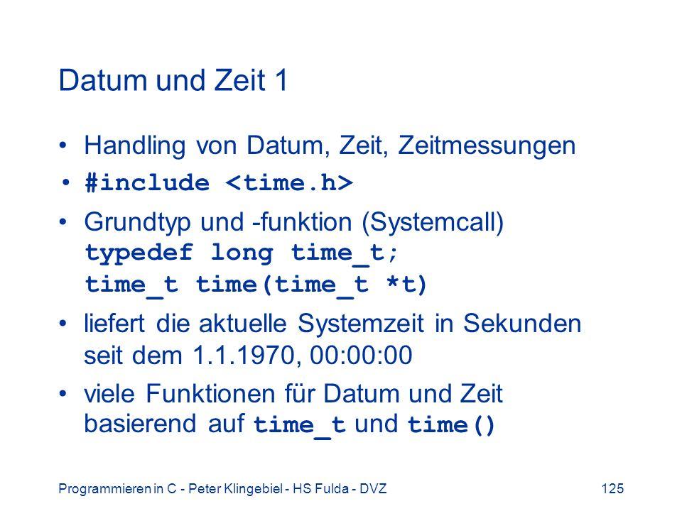Datum und Zeit 1 Handling von Datum, Zeit, Zeitmessungen