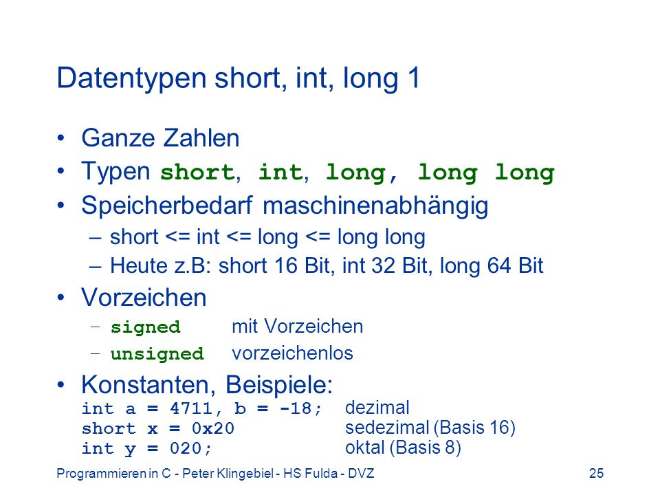 Datentypen short, int, long 1