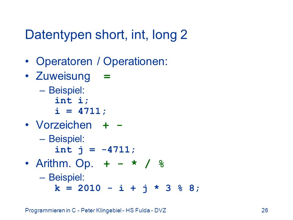 Datentypen short, int, long 2