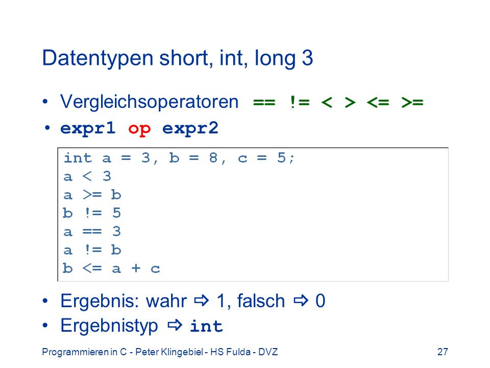 Datentypen short, int, long 3