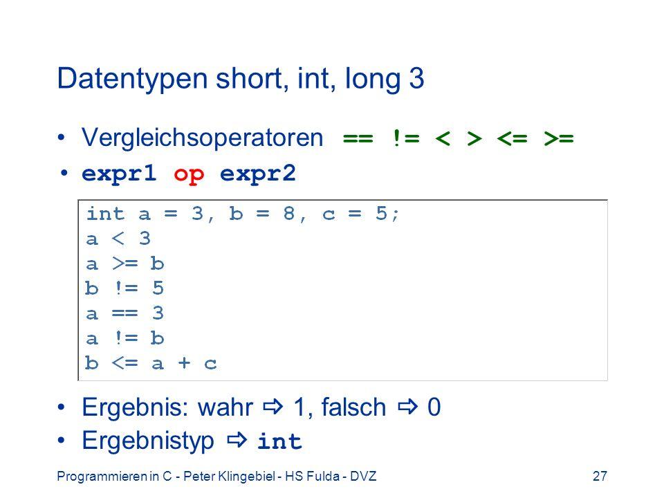 Datentypen short, int, long 3