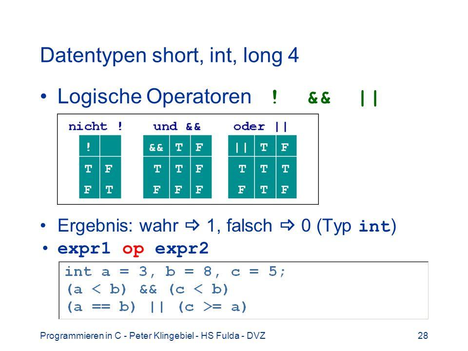 Datentypen short, int, long 4
