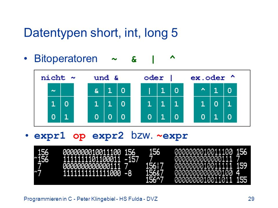 Datentypen short, int, long 5