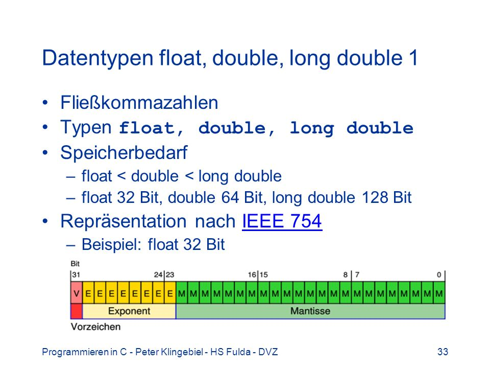 Datentypen float, double, long double 1