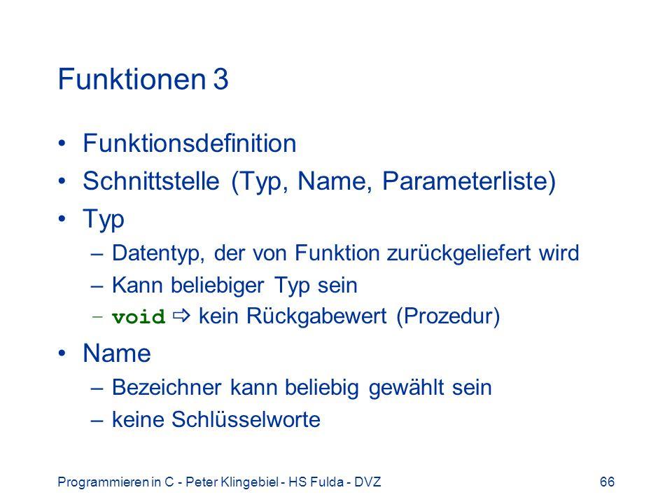 Funktionen 3 Funktionsdefinition