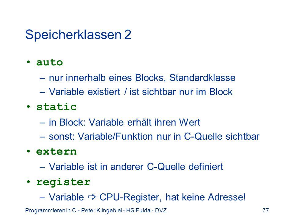 Speicherklassen 2 auto static extern register