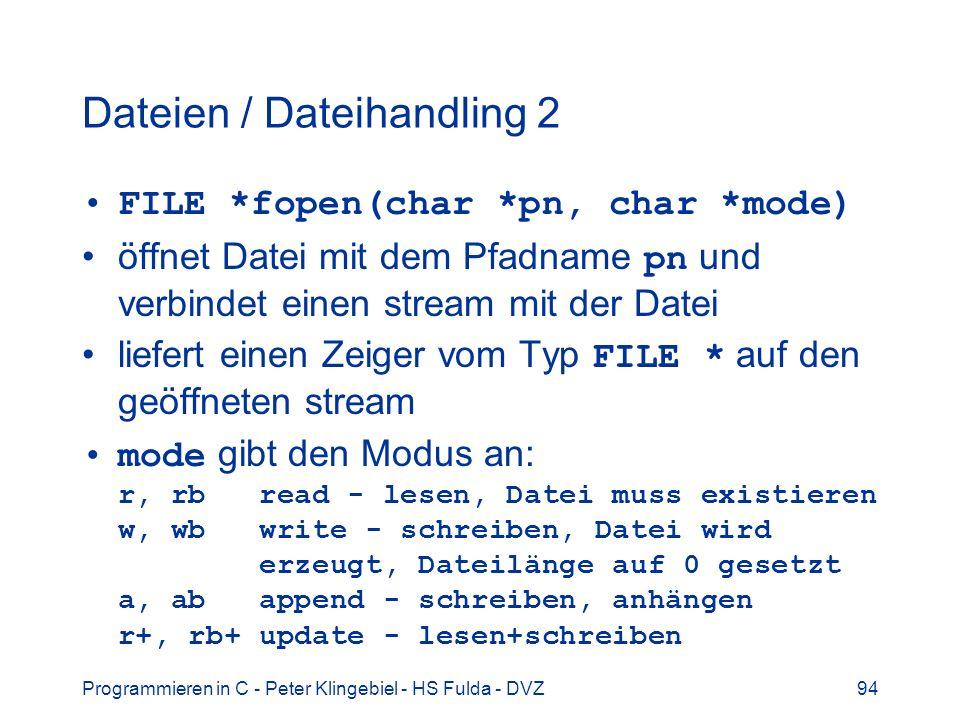 Dateien / Dateihandling 2