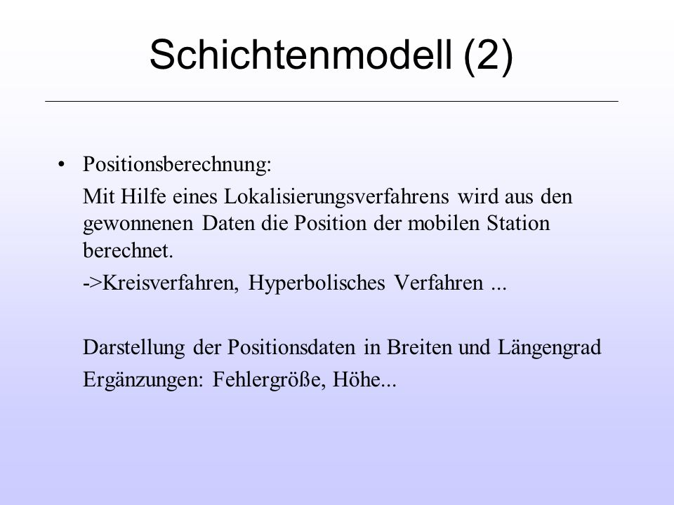 Schichtenmodell (2) Positionsberechnung: