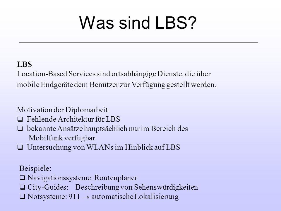 Was sind LBS LBS. Location-Based Services sind ortsabhängige Dienste, die über. mobile Endgeräte dem Benutzer zur Verfügung gestellt werden.