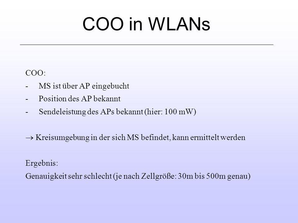 COO in WLANs COO: MS ist über AP eingebucht Position des AP bekannt