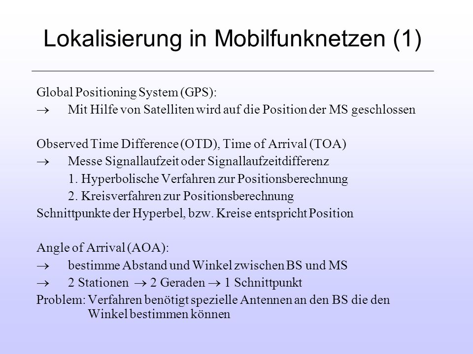 Lokalisierung in Mobilfunknetzen (1)