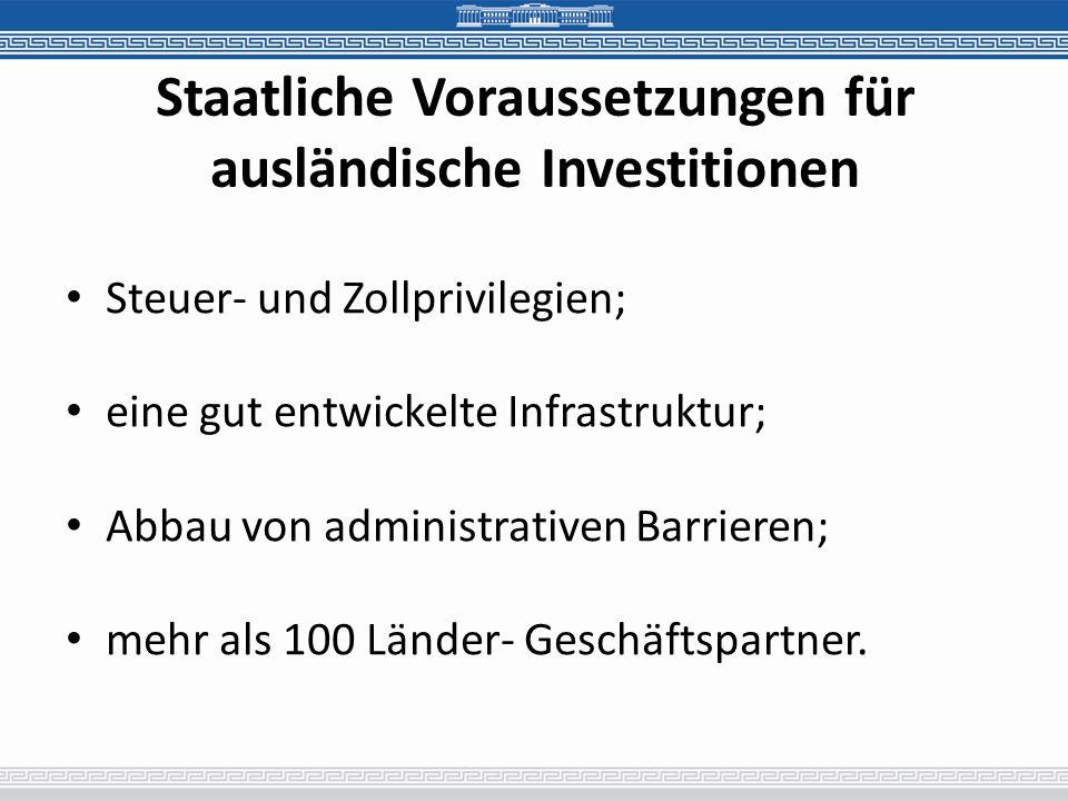 Staatliche Voraussetzungen für ausländische Investitionen