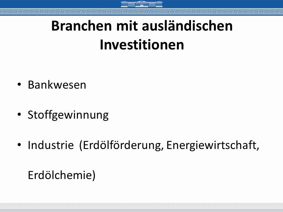 Branchen mit ausländischen Investitionen