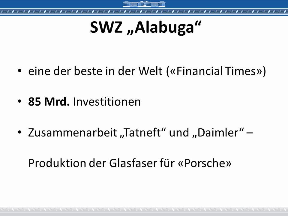"""SWZ """"Alabuga eine der beste in der Welt («Financial Times»)"""