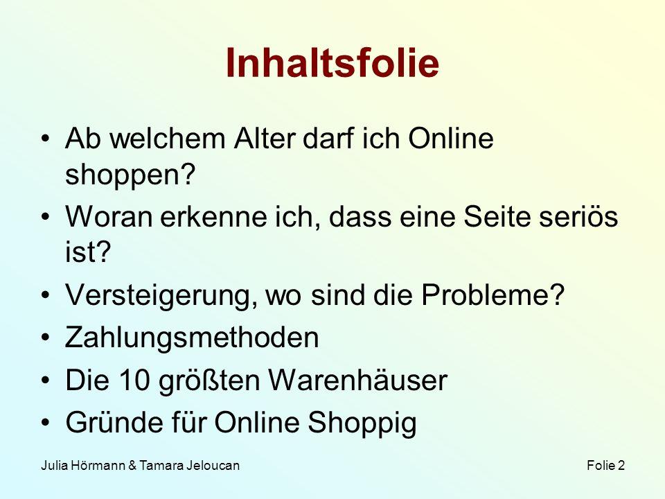 Inhaltsfolie Ab welchem Alter darf ich Online shoppen