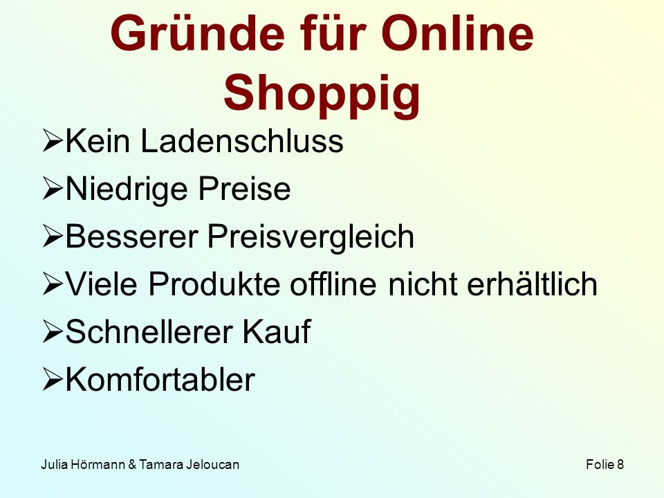Gründe für Online Shoppig