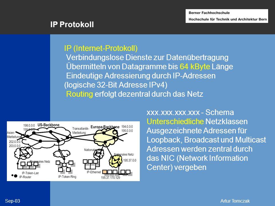 IP Protokoll IP (Internet-Protokoll) Verbindungslose Dienste zur Datenübertragung. Übermitteln von Datagramme bis 64 kByte Länge.