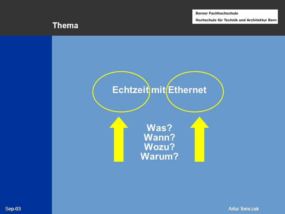Echtzeit mit Ethernet Was Wann Wozu Warum