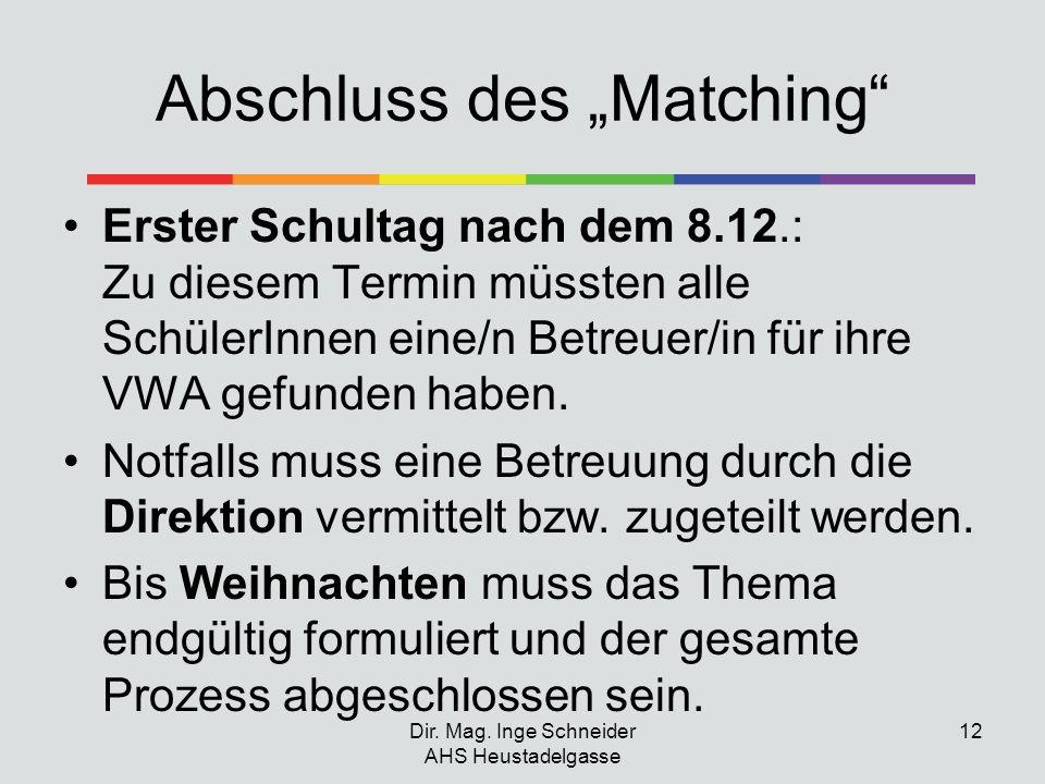 """Abschluss des """"Matching"""