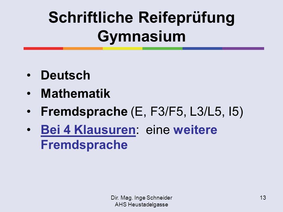 Schriftliche Reifeprüfung Gymnasium