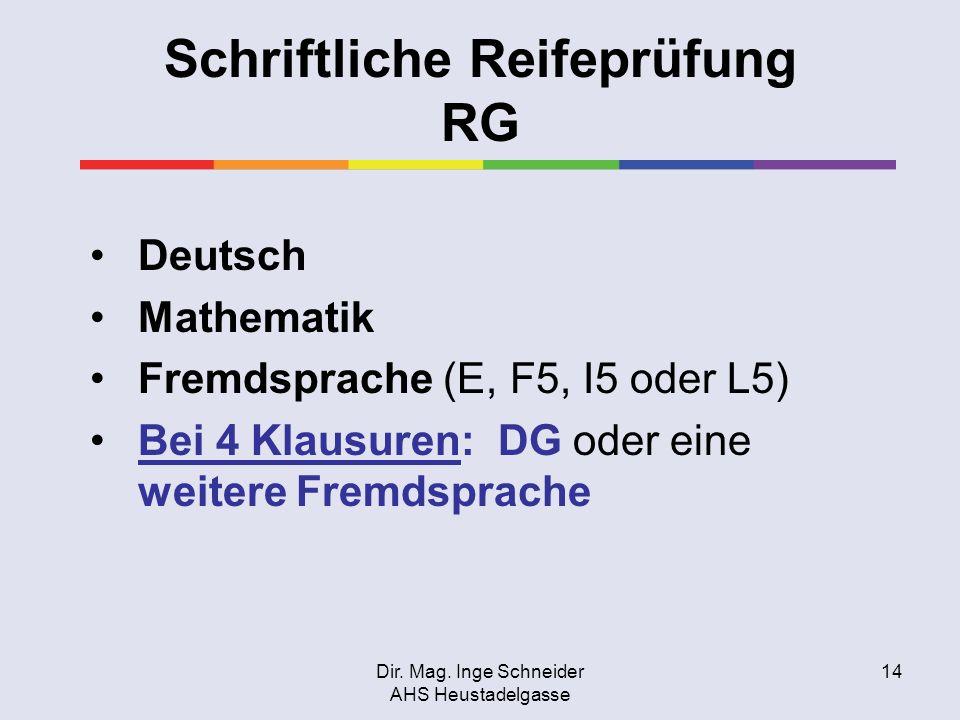 Schriftliche Reifeprüfung RG