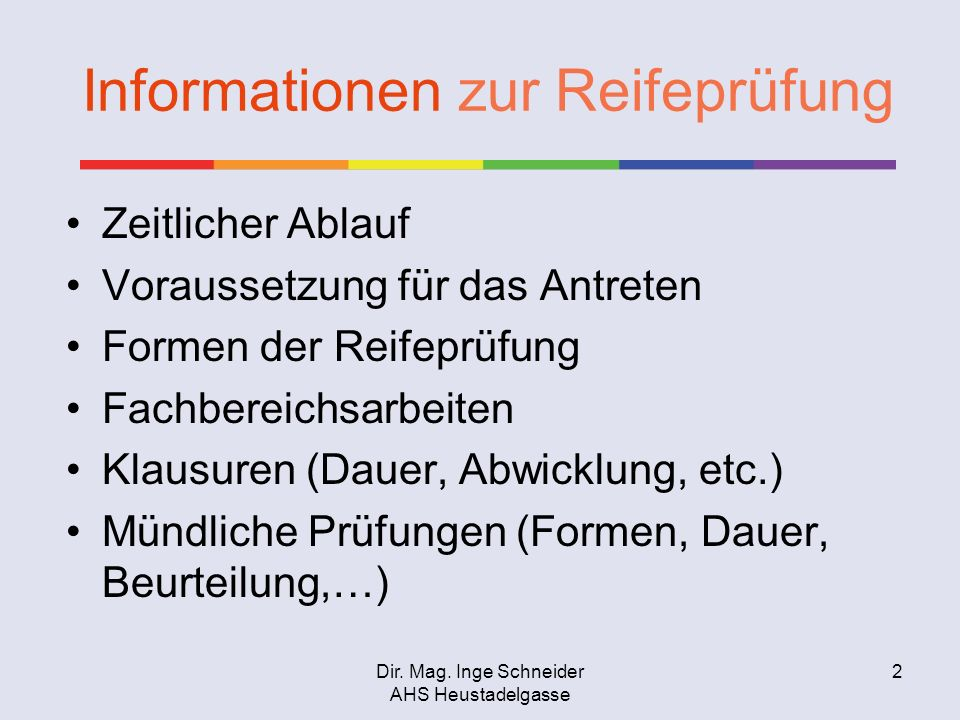 Informationen zur Reifeprüfung