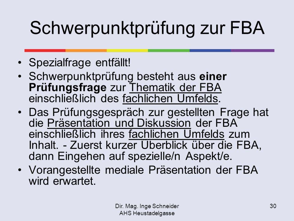 Schwerpunktprüfung zur FBA
