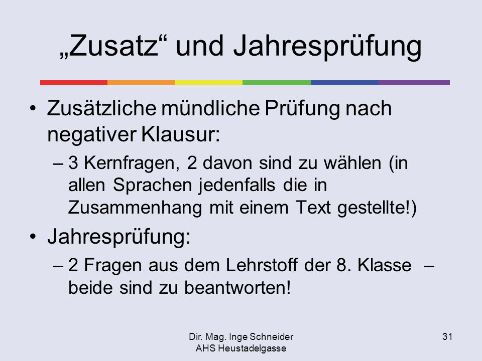 """""""Zusatz und Jahresprüfung"""