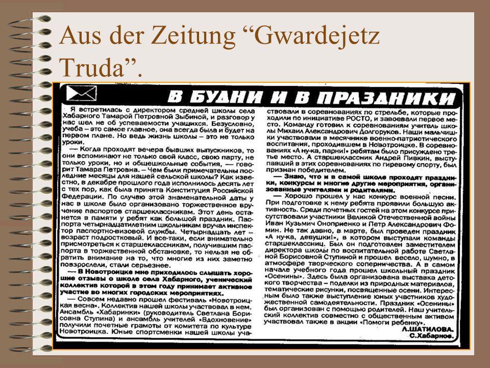Aus der Zeitung Gwardejetz Truda .