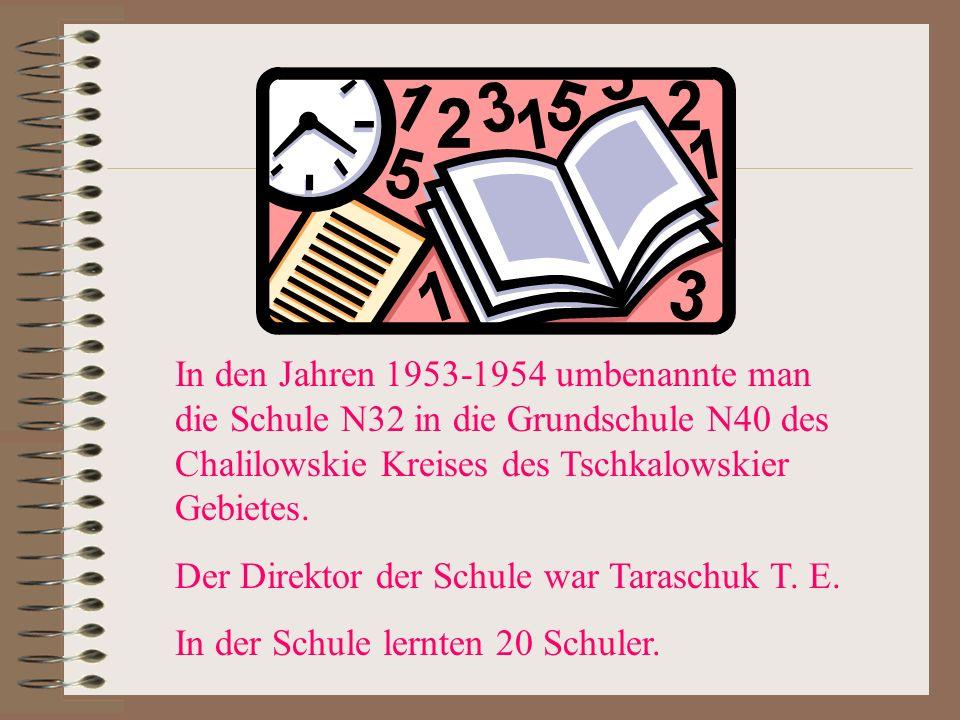 In den Jahren 1953-1954 umbenannte man die Schule N32 in die Grundschule N40 des Chalilowskie Kreises des Tschkalowskier Gebietes.