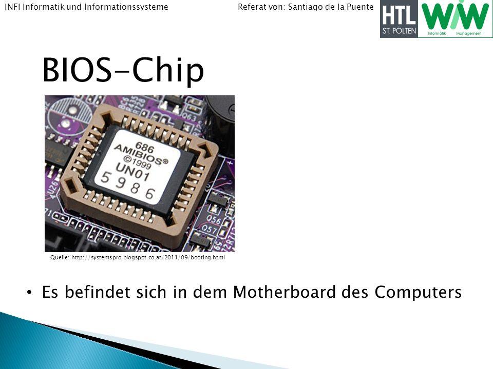 BIOS-Chip Es befindet sich in dem Motherboard des Computers