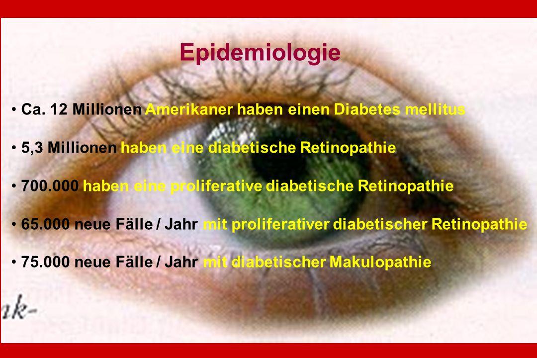 Epidemiologie Ca. 12 Millionen Amerikaner haben einen Diabetes mellitus. 5,3 Millionen haben eine diabetische Retinopathie.