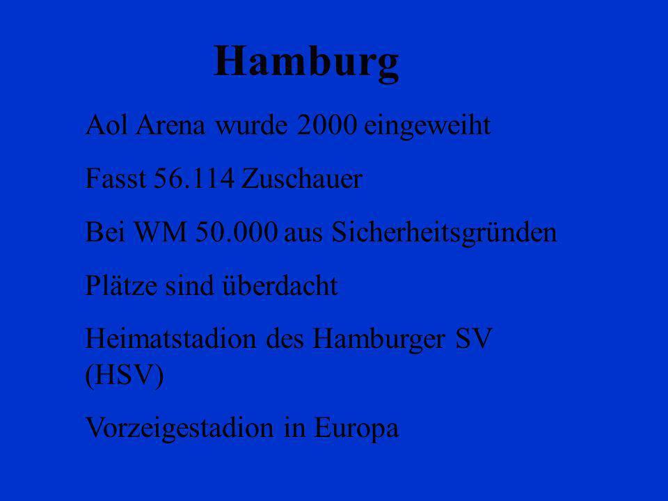 Hamburg Aol Arena wurde 2000 eingeweiht Fasst 56.114 Zuschauer