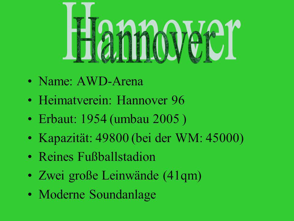 Hannover Hannover Name: AWD-Arena Heimatverein: Hannover 96