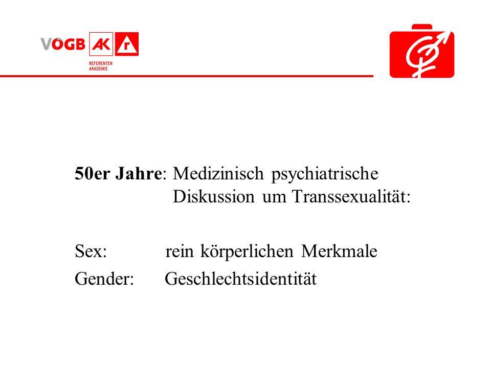 50er Jahre: Medizinisch psychiatrische Diskussion um Transsexualität: