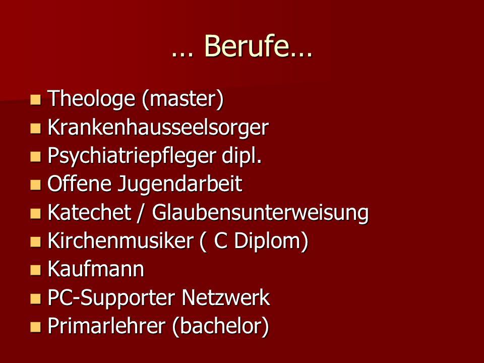 … Berufe… Theologe (master) Krankenhausseelsorger