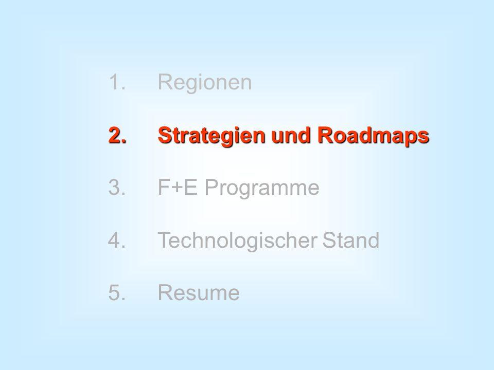 1. Regionen 2. Strategien und Roadmaps 3. F+E Programme 4. Technologischer Stand 5. Resume