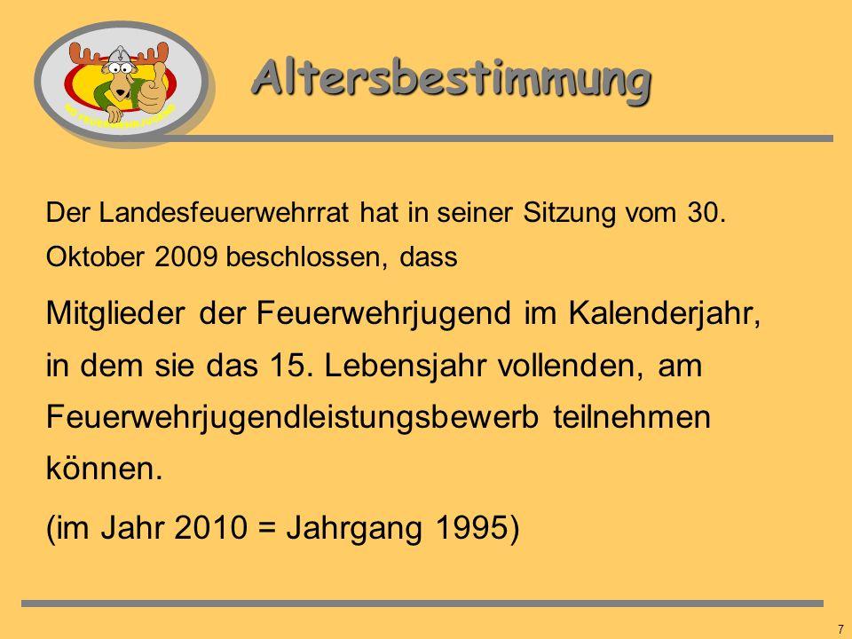 Altersbestimmung Der Landesfeuerwehrrat hat in seiner Sitzung vom 30. Oktober 2009 beschlossen, dass.