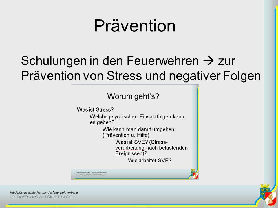 Prävention Schulungen in den Feuerwehren  zur Prävention von Stress und negativer Folgen. Schulungen für die Feuerwehren (Mannschaft) anbieten.
