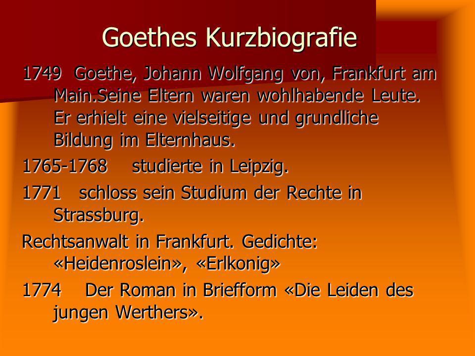 Goethes Kurzbiografie