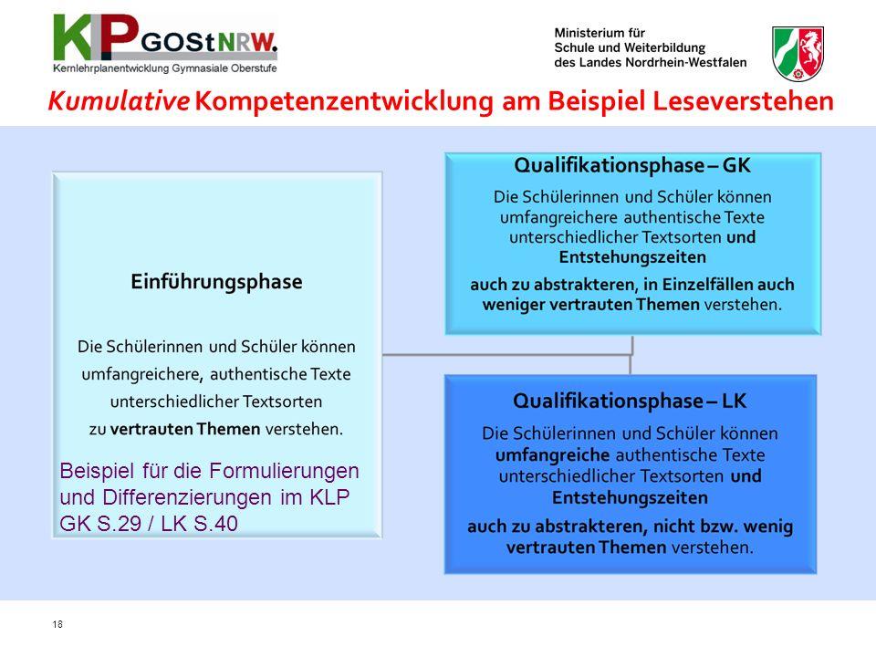 Kumulative Kompetenzentwicklung am Beispiel Leseverstehen
