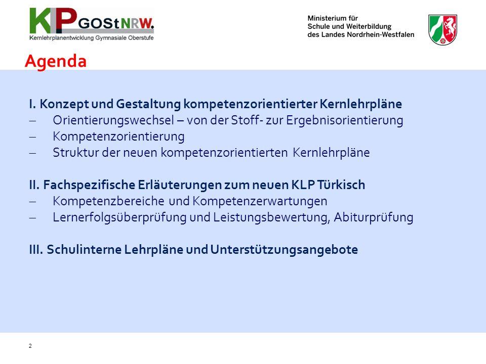 Agenda I. Konzept und Gestaltung kompetenzorientierter Kernlehrpläne